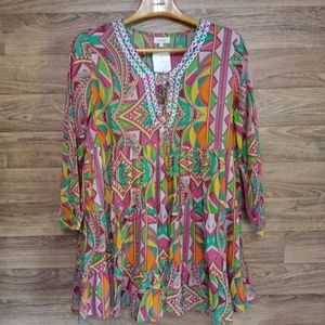 Velzera multicolor ruffled tunic top